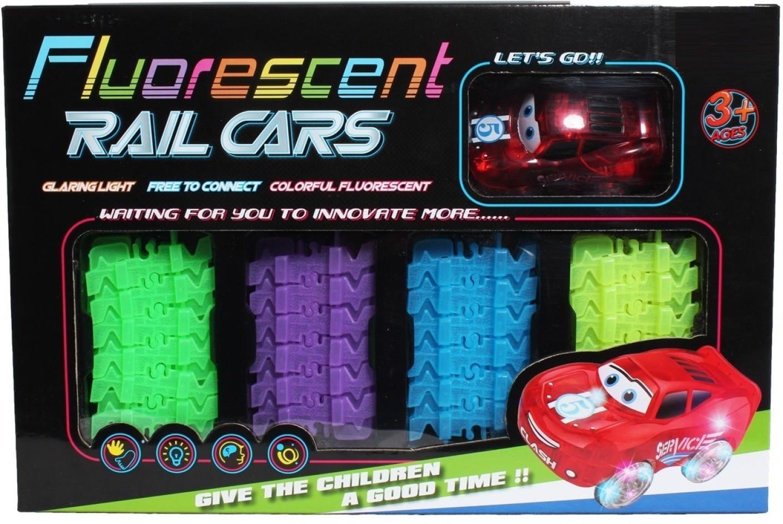 Svítící autodráha s autíčkem, 72 dílů