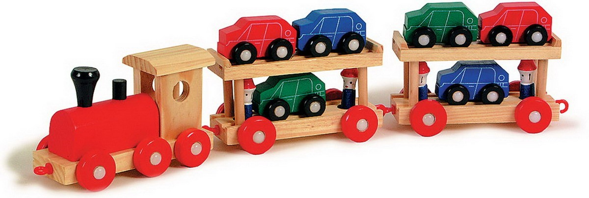 Dřevěný vláček převážející autíčka