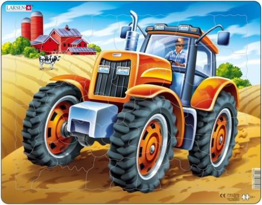 Larsen deskové puzzle oranžový traktor, 36x28x0,4 cm