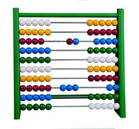 Dřevěné kuličkové počítadlo, Zelené 24 x 6 x 23 cm